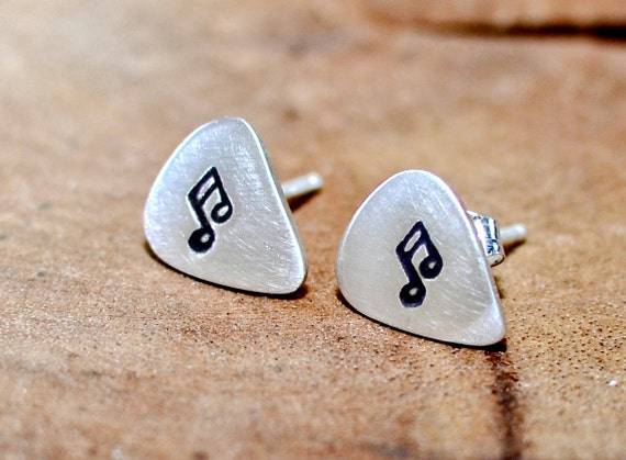 Guitar Pick Stud Earrings Handmade from Sterling Silver with Music Notes - ER896