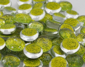 Glass Glittered Gems - Sparkly Green - Nuggets -  Set of 30