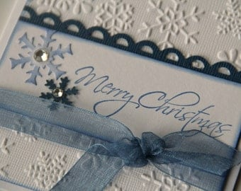 Embossed Snowflake Christmas Card with Stamped Merry Christmas and Snowflakes, Blue and White Snowflake Holiday Greeting Card (CC1406)