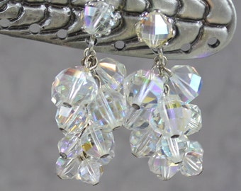 Vintage Clear Crystal AB Beaded Cascade Cluster Silver Clip On Earrings