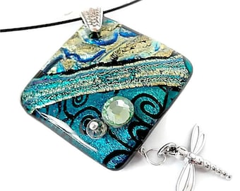 Fused Art Glass Pendant/Dichroic Pendant/Fused Glass Necklace/Gold, Blue, Green/Dragonfly Pendant