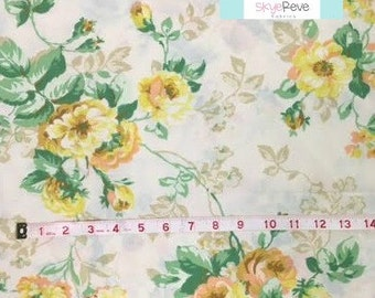 Full Vintage Flat Sheet with Yellow Roses
