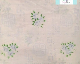 Full Vintage Fitted Sheet with Dainty Blue Flowers