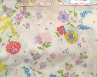 Twin Vintage Flat Sheet with Purple Flowers