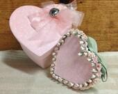 Valentine keepsake heart box set, glittered pink and Sage green trinket boxes