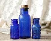 Antique Cobalt Blue Medicine Bottles - Old Blue Glass Bromo Seltzer Bottles Lot of 3