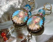 Aqua mermaid cabochon image bead charm Picasso earrings Pamelia Designs Sacred Jewelry