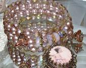 Vintage fairy cabochon image bead charm rose pearl wrap bracelet Pamelia Designs Sacred Jewelry
