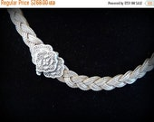 Fall into Vintage SALE Beautiful Tribal Ethnographic Woven Sterling Silver Mesh Vintage Necklace