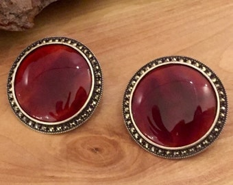 RESERVED Bold and beautiful Art Deco Carnelian Stone Circle Disk Sterling Silver Marcasite Vintage Earrings  Art Deco Jewelry