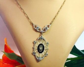 Fall into Vintage SALE Beautiful Art Deco French Camphor Crystal Black Onyx Marcasite Silver Vintage Necklace Art Deco Jewelry