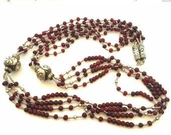 Valentines Lovers SALE Beautiful Ornate Silver  Bohemian Garnet and Glass  Bead Vintage Tribal Boho Vintage Necklace
