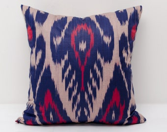 15x15 blue red ikat pillow cover, blue red pillows, blue red ikats, blue, decorative pillow, throw pillow, accent pillow, blue pillow