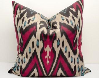 20x20 ikat pillow cover, blue, red , beige, black, ikat cushions, ikat pillows, ikats, blue pillows, blue red blue beige decorative pillows