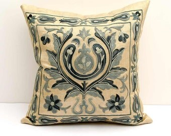 12x12 fully silk handmade embroidery suzani pillow covers, a great quality and mastership work of authentic uzbek suzanis, suzani embroidery