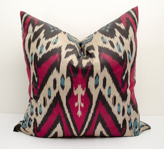 20x20 ikat pillow cover blue red beige black ikat