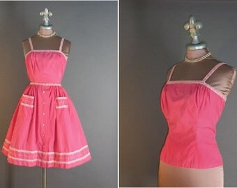 50s dress vintage 1950s HOT PINK EMBROIDERY white detailed cotton top and full skirt 2pc dress set