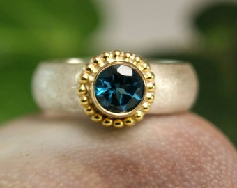 London Blue Topaz Gemstone Ring, Two Tone Jewelry, Wide Band Ring, December Birthstone Ring, custom size
