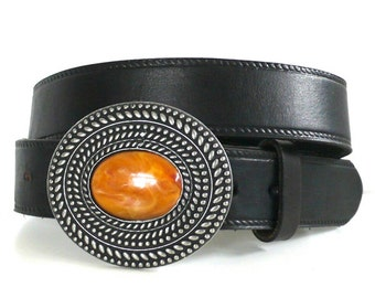 Vintage Western Belt with Stone Buckle by P Diamond, Texas USA