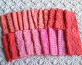"""Pinks and Corals 6"""" Square Assortment of Vintage Chenille Bedspread Fabrics (21)"""