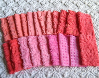 "Pinks and Corals 6"" Square Assortment of Vintage Chenille Bedspread Fabrics (21)"