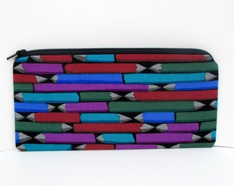 Zippered Pencil Pouch, Pencil Art in Jewel Tone Colors