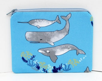 Narwhal Whale Swim, Blue Small Zipper Pouch, Coin Purse