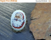 Christmas Secret Santa Gift Holiday Vintage Porcelain Victorian Santa Claus Cab handmade adjustable cocktail Christmas Holiday Ring.