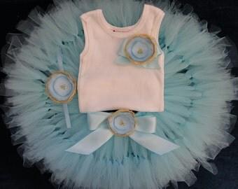 Baby Girls Birthday Tutu, Blue Tutus, Strawberrie Rose Gold Tutu Dress