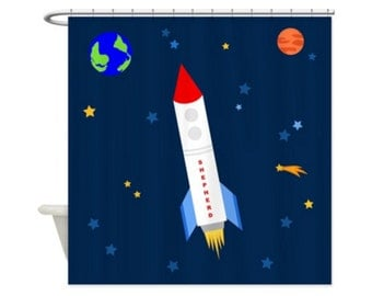SPACE ROCKET PERSONALIZED Kids' Shower Curtain - Outer Space