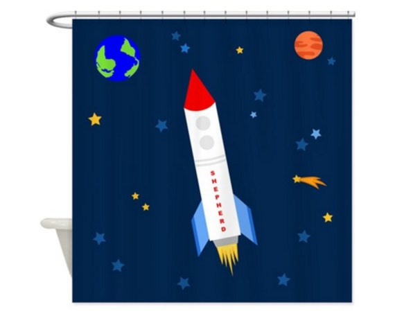 SPACE ROCKET PERSONALIZED Kids' Shower Curtain Outer