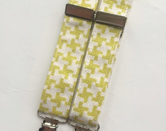 Little Guy SUSPENDERS - Lime crosses - (Ready to Ship) - Baby Boy Toddler - Christmas
