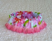 "Pink Peonies on Blue Dog Scrunchie Collar with pink gradation organza ruffle - Size M: 14"" to 16"" neck"