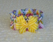 """Easter Chevron Dog Scrunchie Collar - yellow striped bow - M: 14"""" to 16"""" neck"""