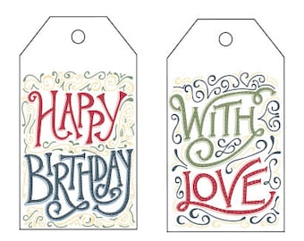 Printable Gift Tags: Happy Birthday and With Love