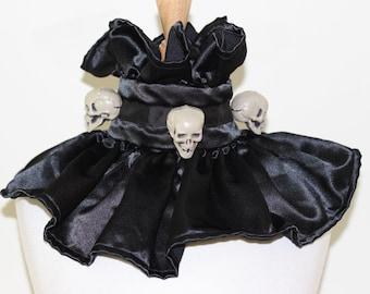 Evil Clown Collar Creepy Circus Choker Spooky Harlequin Collar Black Satin Choker Skull Collar Goth Gothic Collar Halloween Costume