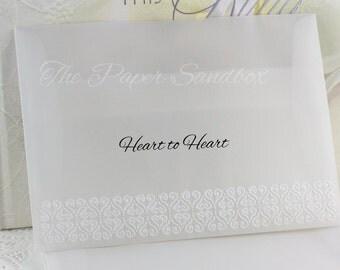 """5"""" x7"""" Vellum Envelopes, A7 Vellum Envelopes, Embossed Vellum Envelopes, Wedding Invitation Envelopes, Christmas Card Envelopes, Stationary"""