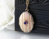 Antique Locket | Amethyst & Gold Edwardian Locket | Rolled Gold Locket Necklace | Oval Wedding Locket | Photo Locket - 20 Inch or 51cm Chain