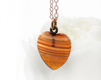 Vintage Heart Pendant | Banded Carnelian | Small Striped Gemstone Heart Love Token | Apricot, White Stripes - 20 inch Rose Gold Filled Chain