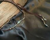 Labradorite Bolo Lariat Leather Necklace, Labradorite Lariat Necklace, Wrap Leather Choker, Bohemian Gemstone Chocker Necklace
