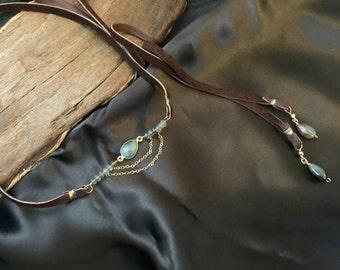 Labradorite Bolo Lariat, Indie Jewelry, Leather Necklace, Labradorite Necklace, Wrap Leather Choker, Bohemian Gemstone Chocker Necklace