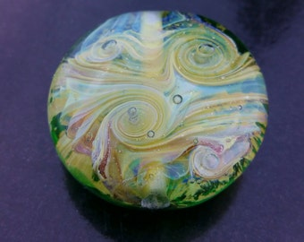 Jurassic Coastal Lentil Bead Pendant, OOAK, Lampwork, Artisan, Handmade