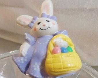 SALE Vintage Bunny Brooch. Easter Bunny with Basket Pin. Unlimited Easter Spring Brooch.