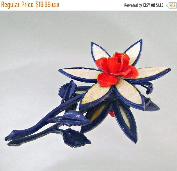 SALE Vintage Brooch Mod Flower Power Red White and Blue Rose