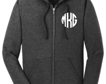Full Zip Up Sweatshirt Monogrammed Great Christmas Gift!