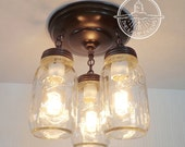 Mason Jar LIGHT FIXTURE New Quart Trio Chandelier