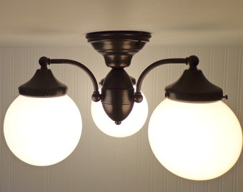 CEILING LIGHT Trio of Milk Glass Globes