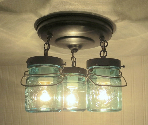Blue Mason Jar Ceiling Lighting Fixture Vintage BALL Sure