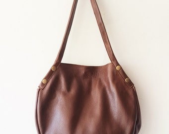 Brown leather tote - Every day bag - Women bag