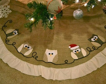 Christmas Tree Skirt, personalized tree skirt, burlap tree skirt, Owl tree skirt, owl decor, Christmas decor, personalized gifts